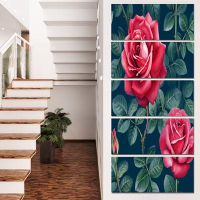 Rose Illustration Watercolor Floral Canvas Art Print - 5 Panels