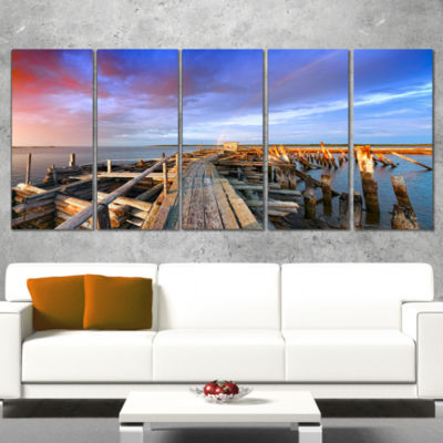 Designart Abandoned Wooden Pier and Blue Sky SeaBridge Canvas Art Print - 5 Panels