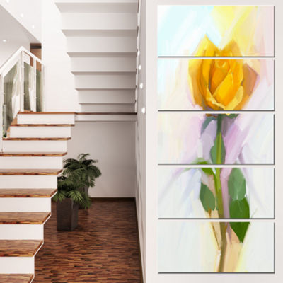 Designart Rose with Green Leaves Painting Large Floral Canvas Artwork - 4 Panels
