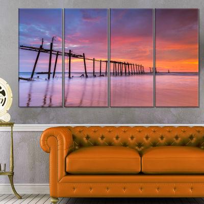 Designart Abandoned Wooden Pier at Sunset Pier Seascape Canvas Art Print - 4 Panels