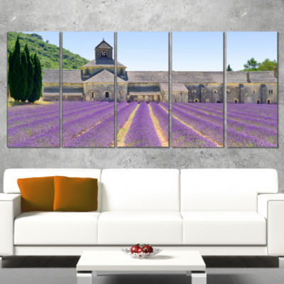 Designart Abbey of Senanque Blooming Lavender Oversized Landscape Wrapped Wall Art Print - 5 Panels