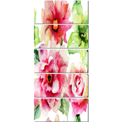Roses and Gerber Flowers Watercolor Floral CanvasArt Print - 5 Panels