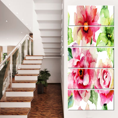 Designart Roses and Gerber Flowers Watercolor Floral CanvasArt Print - 5 Panels