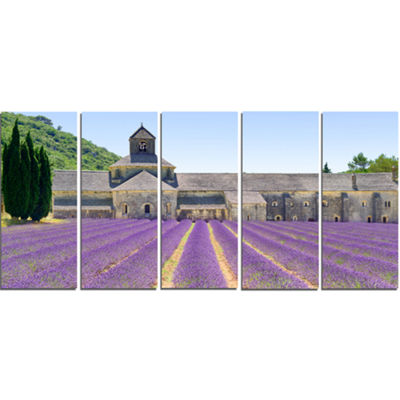 Designart Abbey of Senanque Blooming Lavender Oversized Landscape Wall Art Print - 5 Panels