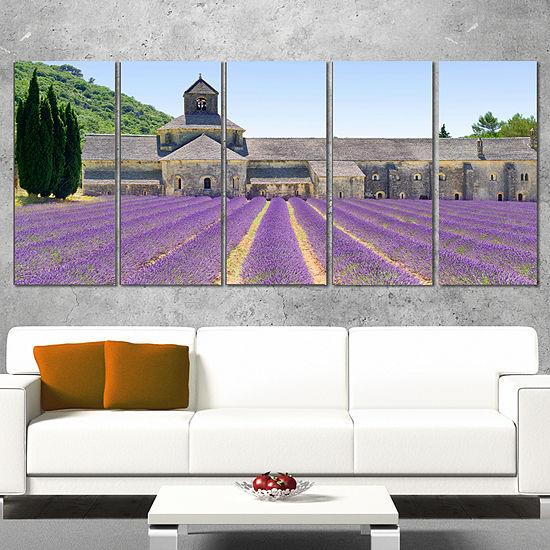 Designart Abbey of Senanque Blooming Lavender Oversized Landscape Wall Art Print - 5 Panels