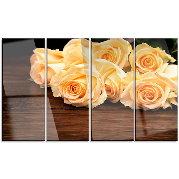 Designart Roses on Wooden Surface Photo Floral Canvas Art Print - 4 Panels