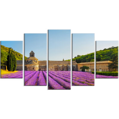 Abbey of Senanque Lavender Flowers Oversized Landscape Wrapped Wall Art Print - 5 Panels