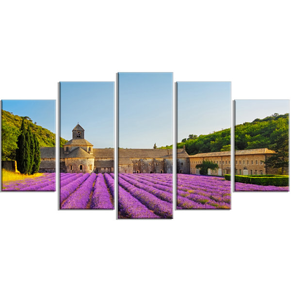 Designart Abbey of Senanque Lavender Flowers Oversized Landscape Wrapped Wall Art Print - 5 Panels