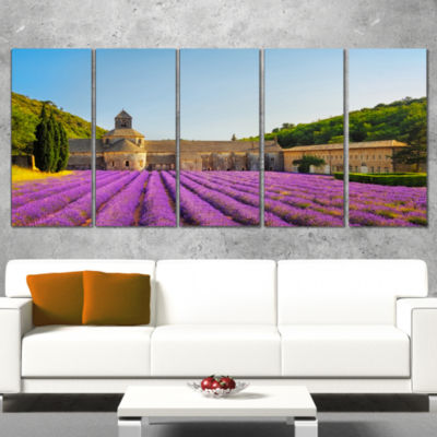 Designart Abbey of Senanque Lavender Flowers Oversized Landscape Wall Art Print - 5 Panels
