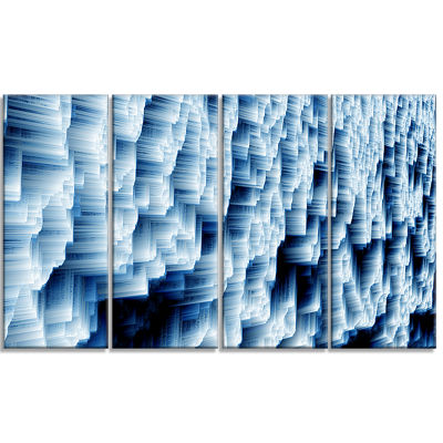 Abstract Blue Ice Photography Canvas Art Print - 4Panels