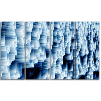 Designart Abstract Blue Ice Photography Canvas ArtPrint - 4 Panels
