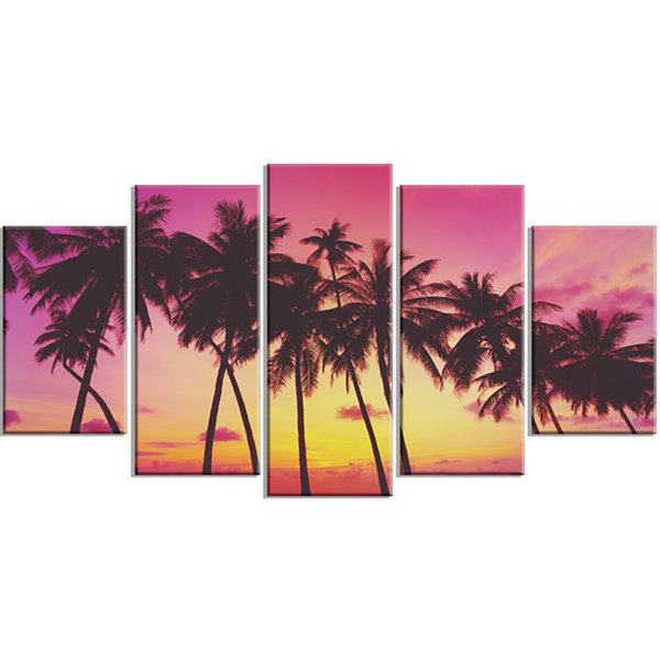 Row of Beautiful Palms Under Magenta Sky Extra Large Wrapped Wall Art Landscape - 5 Panels