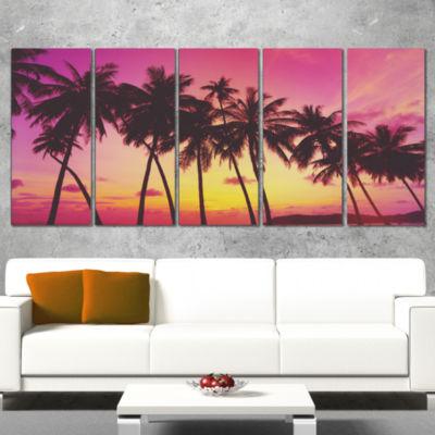 Designart Row of Beautiful Palms Under Magenta SkyExtra Large Wall Art Landscape - 5 Panels