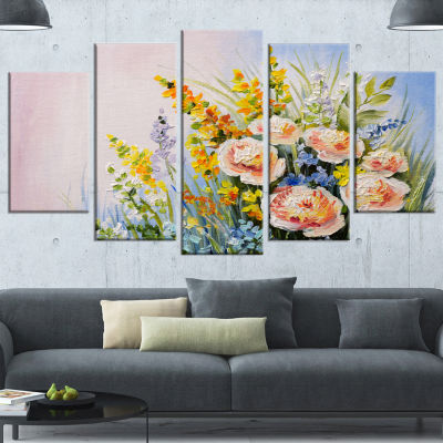 Designart Abstract Bouquet of Summer Flowers Flower ArtworkOn Wrapped Canvas - 5 Panels