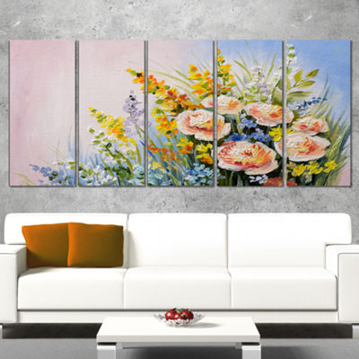 Designart Abstract Bouquet of Summer Flowers Flower ArtworkOn Canvas - 5 Panels
