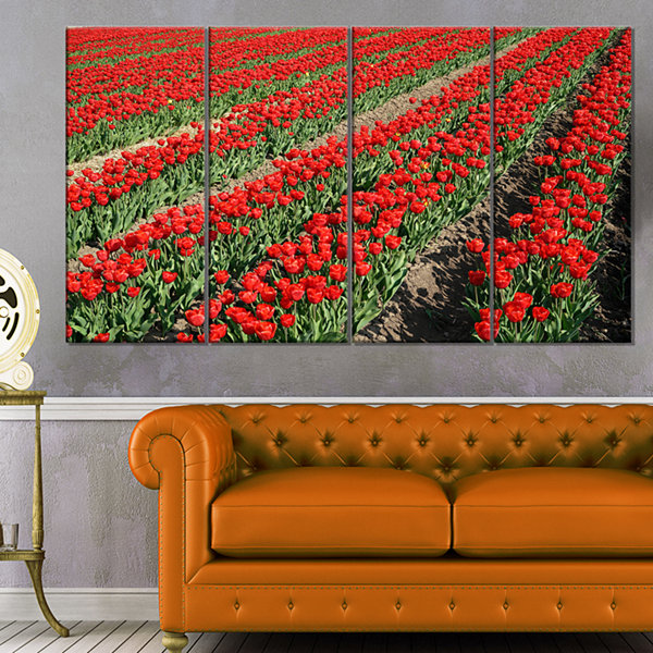 Rows of Red Tulip Flowers Floral Canvas Art Print- 4 Panels