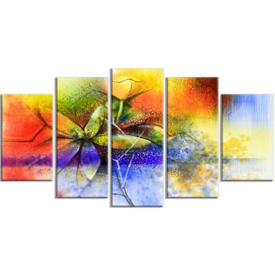 Designart Abstract Colorful Flower Fusion Large Flower Wrapped Canvas Wall Art - 5 Panels