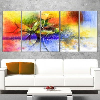 Design Art Abstract Colorful Flower Fusion Large Flower Wrapped Canvas Wall Art - 5 Panels