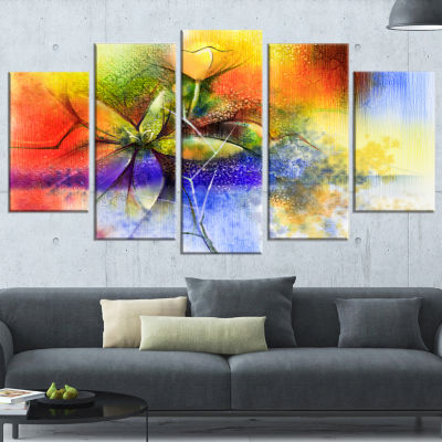Abstract Colorful Flower Fusion Large Flower Wrapped Canvas Wall Art - 5 Panels