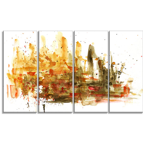 Designart Abstract Composition Art Abstract CanvasArt Print- 4 Panels
