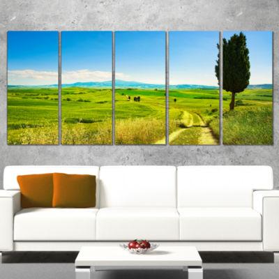 Designart Rural Landscape Countryside Farm Oversized Landscape Wall Art Print - 4 Panels