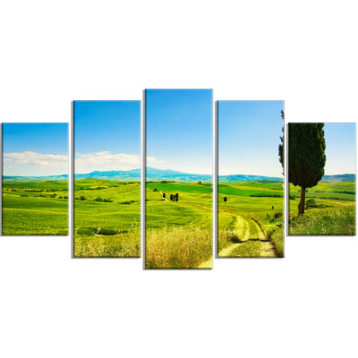 Rural Landscape Countryside Farm Oversized Landscape Wrapped Wall Art Print - 5 Panels
