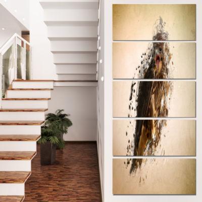 Design Art Abstract Falcon in Flight Animal CanvasWall Art -4 Panels