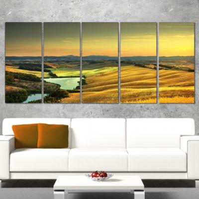 Designart Rural Landscape Italy Panorama OversizedLandscapeWrapped Wall Art Print - 5 Panels