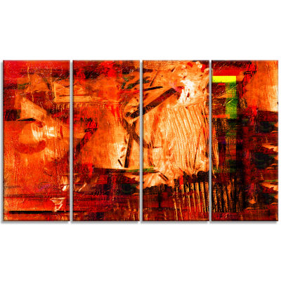 Designart Abstract Fire Red Abstract Canvas Artwork - 4 Panels