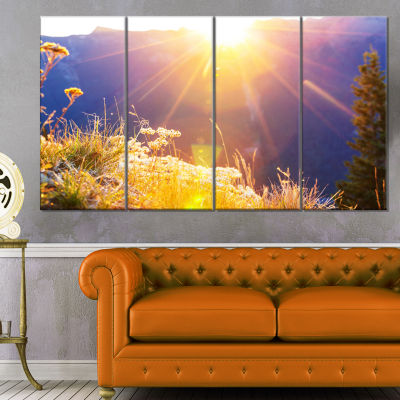Rural Meadow Flowers at Sunset Landscape Canvas Art Print - 4 Panels
