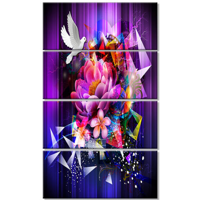 Designart Abstract Floral Design with Dove FloralCanvas Art Print - 4 Panels