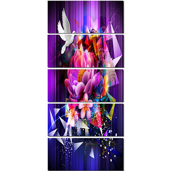 Designart Abstract Floral Design with Dove FloralCanvas Art Print - 5 Panels