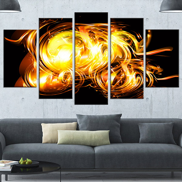 Designart Abstract Fractal Fire On Black Black Large Abstract Canvas Wall Art - 5 Panels