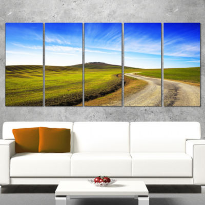Rural Road and Olive Trees Uphill Landscape PrintWall Artwork - 4 Panels