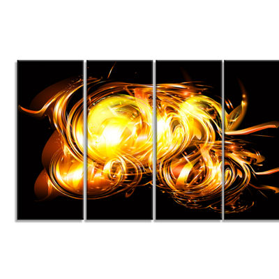 Designart Abstract Fractal Fire On Black Large Abstract Canvas Wall Art - 4 Panels