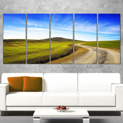 Designart Rural Road and Olive Trees Uphill Landscape PrintWall Artwork - 5 Panels