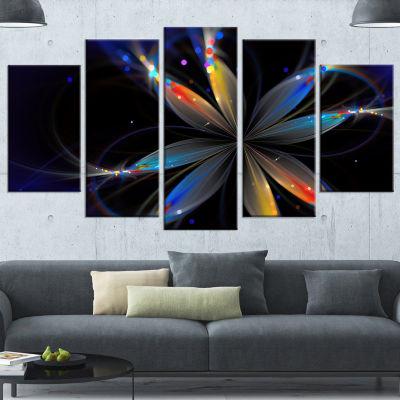 Designart Abstract Fractal Flower On Black FloralCanvas Art Print - 4 Panels