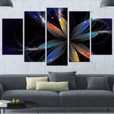 Designart Abstract Fractal Flower On Black FloralCanvas Art Print - 5 Panels