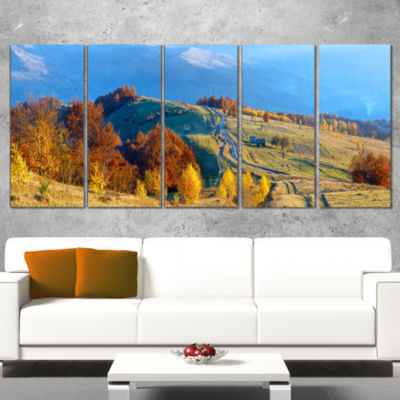 Designart Rural Road on Autumn Mountains LandscapeCanvas Art Print - 5 Panels