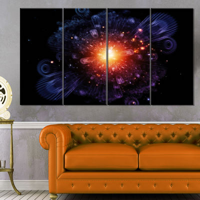 Designart Abstract Fractal Gears and Lights Flowers Canvas Wall Artwork - 4 Panels