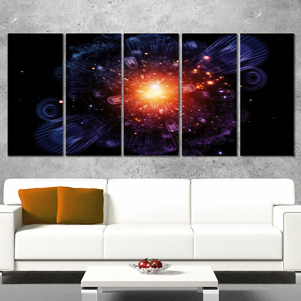 Designart Abstract Fractal Gears and Lights Flowers Canvas Wall Artwork - 5 Panels