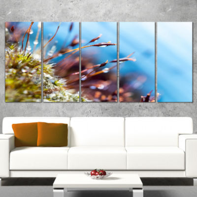 Designart Abstract Moss Flowers in Summer SpringLandscape Wrapped Canvas Art Print - 5 Panels