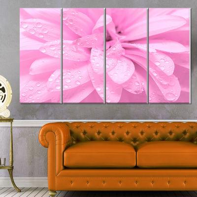 Designart Abstract Pink Flower with Petals FloralCanvas Art Print - 4 Panels