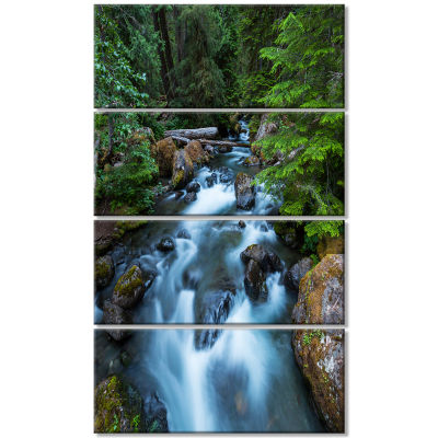 Rushing Water in Forest Creek Extra Large Landscape Canvas Art - 4 Panels
