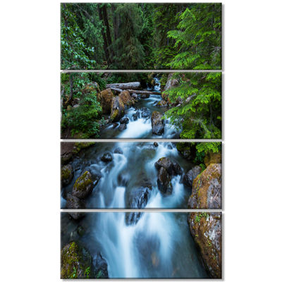 Designart Rushing Water in Forest Creek Extra Large Landscape Canvas Art - 4 Panels