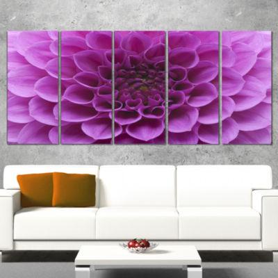 Designart Abstract Purple Flower and Petals FloralCanvas Art Print - 4 Panels