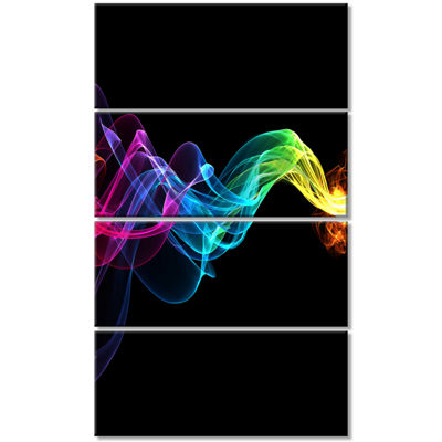 Designart Abstract Ribbon Waves On Black AbstractCanvas Wall Art Print - 4 Panels