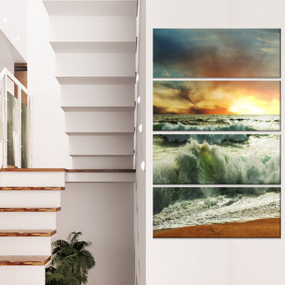 Designart Rushing Waves in Evening Beach Large Seashore Canvas Print - 4 Panels