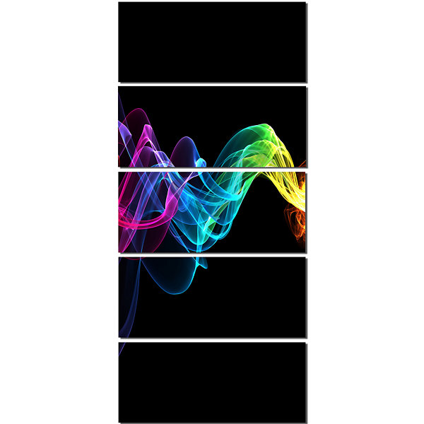 Designart Abstract Ribbon Waves On Black AbstractCanvas Wall Art Print - 5 Panels