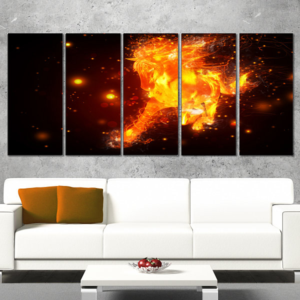Designart Abstract Running Fire Horse Animal Wrapped Canvas Art Print - 5 Panels